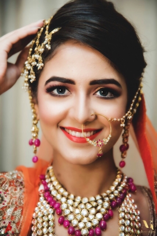 """Picture perfect.... happiest brides the prettiest .... book us for your special day  Click the """"know more"""" button  #fashion #roposolove #soroposo #instafashion #instadaily #style #india #dressup #beauty  #Makeupartist #Makeupaddict #Makeupjunkie #Makeuplover #Makeupforever #Makeupbyme #Makeupmafia #Makeupmurah#Makeupoftheday #Makeuplook #Mascara #Makeupgeek #Makeuplovers #Instamakeup #Instamakeupartist #Makeupporn#Makeupobsessed #Beauty #Eyeliner #Makeupfanatic1 #Eyeshadow #Lipgloss #Makeuptalk #Makeuptutorial #Makeuplove #makeupartistdelhi #makeupartistdelhincr #makeupartistindia #mua #muadelhi #muadelhincr #muaindia #bridalmakeupartist #indianbridalmakeupartist #punjabibridalmakeupartist #bridalmakeup #makeupbyaakriti #aakritichauhangandhi"""