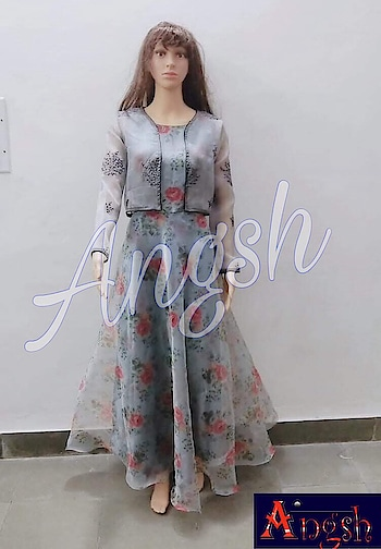 #partygown #organza #printed #flower #jacket #embroidery #differentlook #angsh #jaipur #designer #stylish #weddingcollection  Dm to order😊