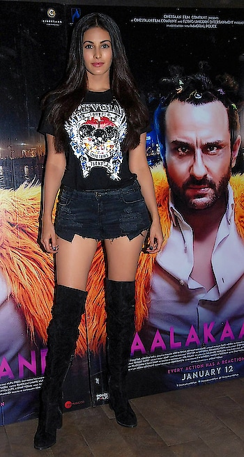 #rocker #chic at the screening of #kaalakaandi  #graphicdesign #ripped #tshirt from #zooomberg  #minishorts from #zaraindia  #thighhighboots from #blushcreation  Styled by @bornalitalukdar