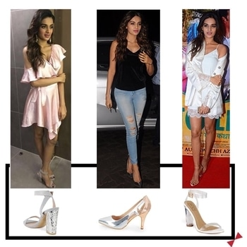 Nidhi Agarwal's three #INTOTO looks for her movie promotions. Which one do you guys like best?  #bollywoodstyle #celebritystyle #bollywood #shoefie #shoestyle #shoelovetruelove #mineblock #shoeoff #preciousmetal #munnamicheal #fashionista