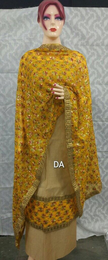 #phulkarisuit  #phulkarilover #punjabikudi #shoponline #resellersarewelcome   Beautiful Suit on silk cotton fabric with semi chiffon beautiful Full jaal Phulkari Dupatta   Border on ghera Same border on neck Same on sleeves too 4 side border on suit as well as on dupatta too  Price :- 950/-  SHIPPING CHARGES EXTRA
