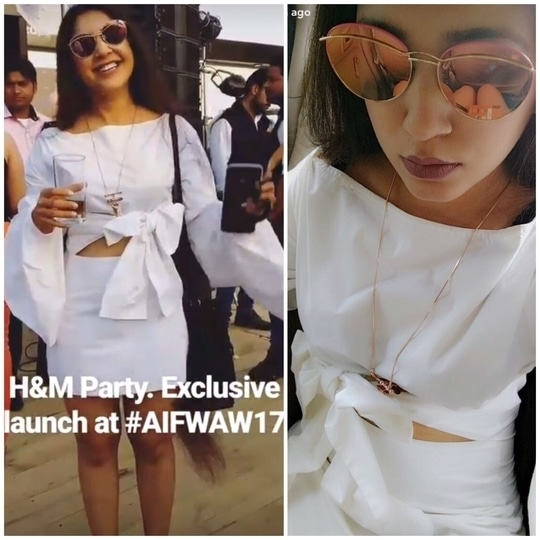 So we are still hungover with fashion week madness!  @thatdesigirlblog looking stunning in our statement bow shirt dress from our pret collection at #AIFW17  @amazonfashionin @thefdci  #fashionweek #designer #stylist #designist #designist