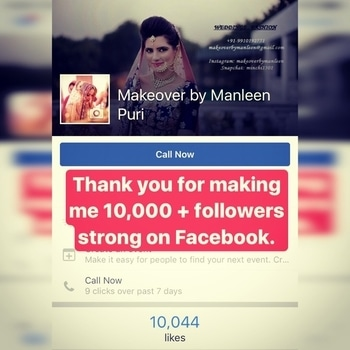 It's really an amazing feeling to see yourself grow stronger by the day and receiving so much love from your followers! I can't thank you all enough for making me stand where I am today! Love u all and thanks for making me hit 10000+ followers on Facebook!! #makeoverbymanleen #bridalmakeupartist #bridalmakeup #10000followers #gettingstronger #lovewhatido #tygod 💞
