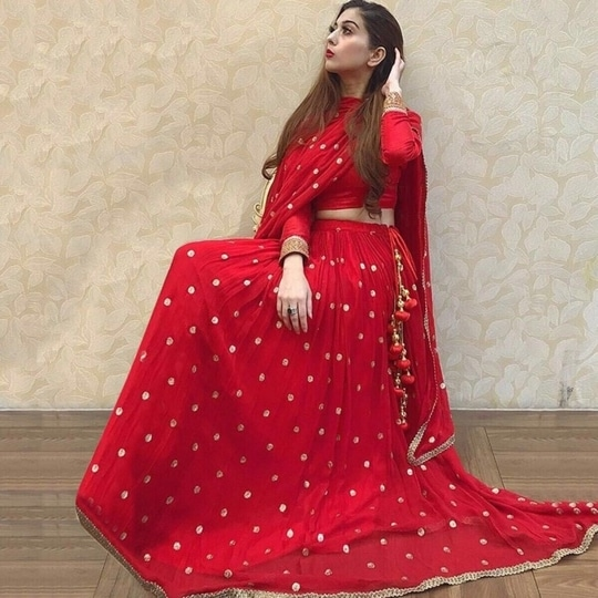 get this Very Stylish Red Designer #lehengacholi Just for ₹@1750/- INR Only 👉🏻 Fabric - Georgette  👉🏻 Choli - Bangalory silk  For buy DM or WhatsApp us : +91-8866570406
