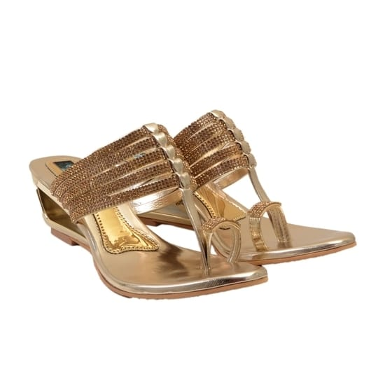 A pair of gold toned wedges synthetic upper with a toe holder and midfoot strap with stone-studded detailing cushioned footbed