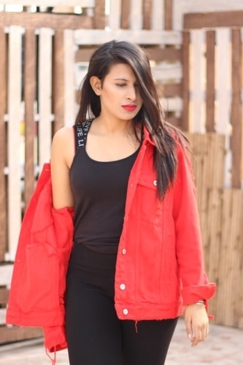 There is no need to be Perfect to Inspire others. Let people get Inspired by how you deal with your Imperfections.  . . . . . . . .  #yowomaniya #reddenimjacket #redjacket #denimjacket #fashionista #fashionblogger #lovingit #delhiblogger #indianblogger #delhifashionblogger #indianfashionblogger #ootd #outfitoftheday #lookoftheday #stylediaries #style #redlips #maybelline #stylediaries #lookbook #delhi #style #lookinggood  #jacket
