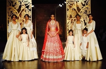 "Absolutely stunning pieces from the Anita Dongre show at the India Couture Week 2017. Inspired by the Bishnoi community's love for trees, her collection ""Tree of Love"" ranged from some beautiful RTW pieces to heavy bridal lehengas.  #indiacoutureweek2017 #designerwear"