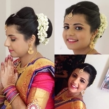 Behold the beautiful South Indian girl with a full smile on her well-defined, dark pink lips and a non-dramatic yet beautiful eyes adorned with make-up on her Engagement day.  South Indian makeup and hairstyle by Richa Malik's Makeovers.  For makeup bookings contact 9891016653. #southindianmakeup #makeupartist #asianmakeup #makeuplook #makeuplover #bridalmakeupartist #southindianbride #southindianwedding #makeupaddict #mua💋  #makeup