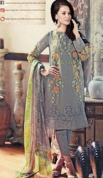 Grey Embroidered Kurti with Pants & A printed Dupatta.  DM us or call us through our bio for inquiries. 📩 Price:- Rs. 2490/- . #kurti #kurtiset #kurtipant #kurtipants #kurtipalazzo #palazzo #palazzopants #grey #subtle #elegant #printeddupatta #embroidery #ethnic #ethnicwear #ethnicity #traditionalwear #indianwear #indianstyle #indiandress #casualwear #casualstyle #style #trend #design #essence #scent #womenswear #womenpower #kurtis
