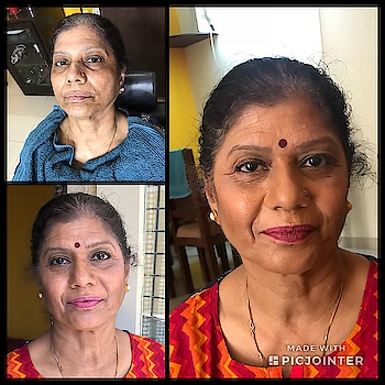 Old is gold: airbrush trial session on my Mom #airbrushmakeup #naturallook #soroposo #roposotimes #bangalore #makeupartistindia #mua #imageconsulting #makeover