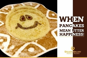 Even the pancake knows the happiness it brings! Experience a Sunday Brunch like never before at Golden Galxay Hotel and Resorts, Faridabad! . . . . #GoldenGalaxyFaridabad #GoldenGalaxyHotel #Faridabad #BestInFaridabad #Pancakes #SundayBrunch #PancakesOnSunday #Happiness #Foodie #FoodLover #FoodIsLife #GoodFood #GoodLife #WeekendGetaways