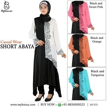 Casual Wear Short Abaya Round neck Stylish embroidery in front (one side).  Gathers below the embroidery. Straight sleeves with matching embroidery. Utility pockets on both sides. A-Symmetric cut at bottom. Matching Square (100*100 cm) / Rectangle Hijab (50x180 cm) and Band can be bought separately. Standard Length: 46 inches(front), 56 inches(Side)  Fabric: Crepe (polyester)  Care: Dry Clean  Please Note: All care has been taken for on screen color resemblance of the garments, however 5% variation may be accepted as different monitor capabilities. #mybatuaabaya