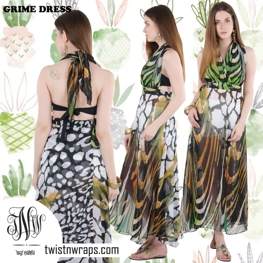 """Grime Dress"" Shop this beautiful animal patch print wrap dress from our dresses collection . Last few pieces left . Send msg for query for the same . #maxidresses by #twistnwraps #online #shopping #discounts #offer #summer-style #fashiongram #fashionstyle  #grimedress"