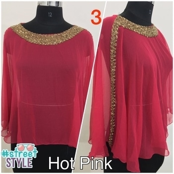 New Crop Top Style kaftan with lining, inner  1. 21 inches long 2. Free size, fit most ( max 3xl) 3. geroette fabric, with streacbale lining (lycra)  4. heavy beads work on neck and both sides 5. colours - black, hot pink, red, wine, off white, blue  NOTE - its original pc, my own manufacturing. Unbeatable price and fabric quality. heavy beads work crop top kaftan, no lace or patch work. All hand work)  Price 980/- ship xtra #streetstyle