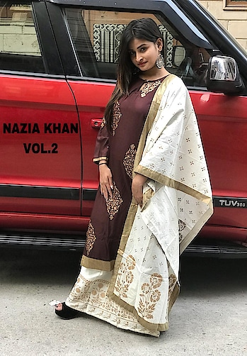 "*NAAZIA KHAN* *Kurta :* Stitched Rayon Fabric Shirt Highlighted With Gold Block Print *Size* :42-44""inchs *Length* :42""inchs  *Plazo *: Stitched Cotton Fabric Plazo Highlighted With Block  *Length* :40""inchs  *Dupatta: *  Designer Cotton Fabric Stole Dupatta Highlighted With Block Print  *Singles* :1049+ship   *Dispatching Date* :After 7 Days   Direct Message us or whatsapp on 9867764381   Follow us 👉🏻on FB:  *https://www.facebook.com/Stylista-Fashionss-2137660539847810/*  #stylistafashionss #style #fashion #trend #readysuit #dressmaterial #ethnic #western #fashionjewellery  #handbags #kurti #botttomwear #onestop #shopping #saree #readymadeblouse #lookstylish #bethefashion #shopstylistafashionss #onlineshopping #bestquality #bestprice #bestbuy #swag"