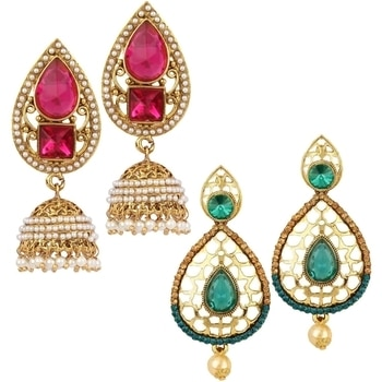 Modern jewellery with a traditional touch. These perfect pair of Earrings Combo Pack of 2 define fashion. Available at Angel in You Only @ Rs. 499 Free Shipping(only in India).  For Booking call or whatsapp on 9953246009