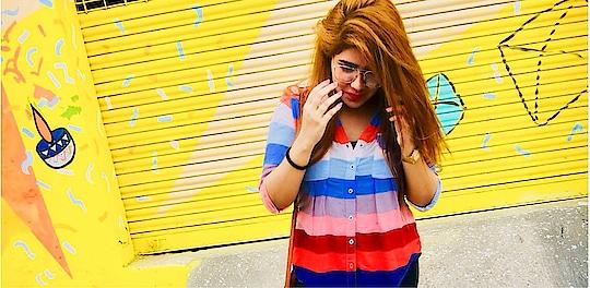 #newhaircolour #cannaughtplace #delhi #delhibloggergirl #yellowwall #rops-style #soroposogirl