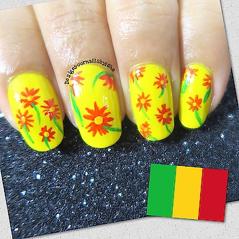 My first flag inspired manicure for #internationalwomensday #colourswithinwomen 🇬🇳 MALI 🇬🇳 West African country of Mali is one of the largest on the continent. For centuries, its northern city of Timbuktu was a key regional trading post and centre of Islamic culture. And my nail design is inspired by their women clothes Hope you all like it❤️ #women #womenempowerment #burkinafaso #westafrica #equality #respect #femalerights #womensrights #femaleempowerment #nailart #roposonails #nailstoinspire #manicure #designyournailsbyisha #ishanailart #nails #floralnails #floral #flagcoloursnails @design_your_nails_by_isha ❤️