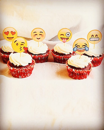 Happiness is when you make little emoji red velvet cupcakes. #emojicupcakes #redvelvetcupcakes #crumbsncream #fortheloveofcake