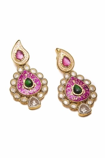 Curio Cottage Kundan Danglers in Pink & Green #kundanjewellery #nowtrending #musthave #weddingmusthave #designerjewellery #datemycloset #saybyetobuy #luxurywear #luxuryrentals