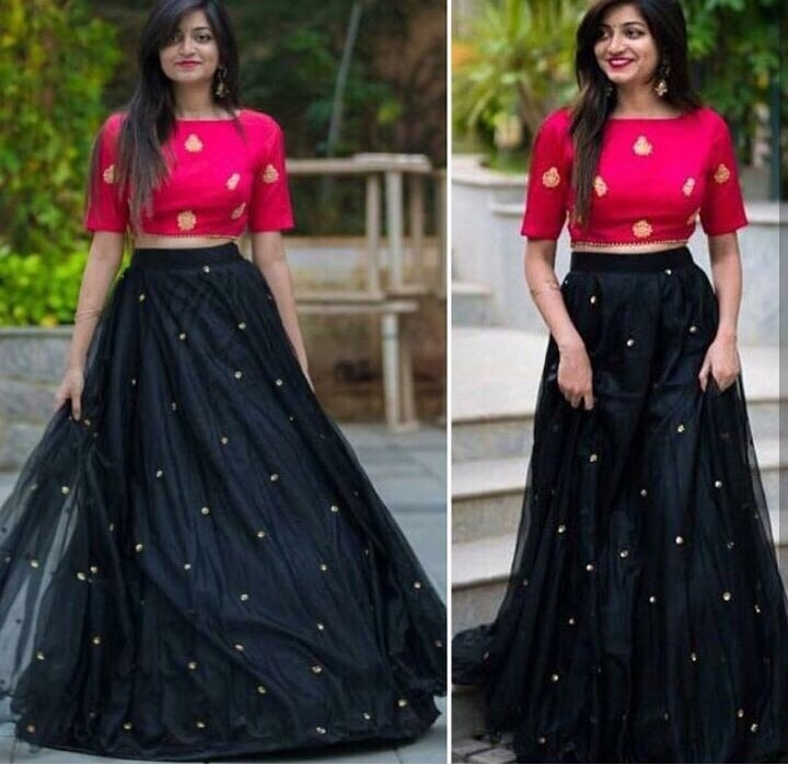 Beautiful pink and black combination #lehengacholi only for ₹@1750/- INR Only 👉🏻lehenga  - net + inner 👉🏻 choli - art silk For Order DM or WhatsApp us : +91-8866570406
