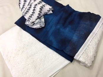 Denim cotton shirt fabric , cotton plazo unstiched bottom, chiffon duppata printed Fo more details u can text me