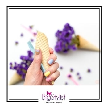 Manicure inspired by ICE CREAM 🍦 yay or nay? Like this? Say a Hi on WhatsApp at 9920465699 for more such fantastic stuff!  #manimonday #monday #manicure #nails #icecream #love #inspiration #colours #pastels #beauty #stayhomebeautiful #BigStylist