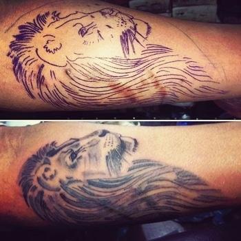 #lionfacetattoo #portraittattoo #tattoolove #tattooobsessed #tattooforboys #tattooart