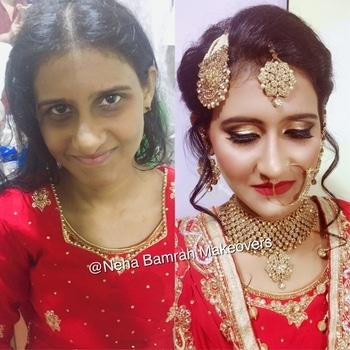 # Neha Bamrah Makeovers  What a pleasure dolling up this sweet bride on her big day for her nikah ...Sharing a Before and After Flawless transformation of my Bride😍👰🏻❤️ --------------------------------------------- For Booking:- 📞 9819887179  #NehaBamrahMakeovers  #bridal