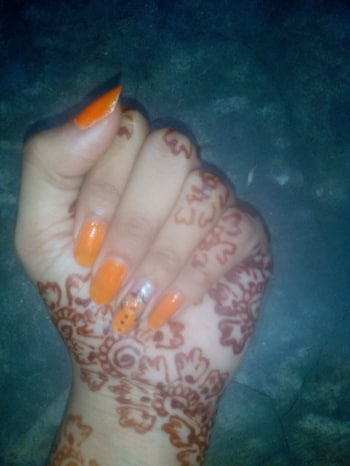 😀😀😀 Orange snow man#nail art lover#lovenailart  #nailart