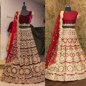 Maroon velvet lengha choli with zari embroidery and mirror work all over. It is paired with a maroon net cutwork dupatta with mirror work.  Code : S609 PRICE : 3500 INR  SHIPPING INCLUDED Title : Maroon machine embroidery lehenga choli with mirror work. Size : Free Color : Maroon Fabric : Velvet Sleeve Type	: Short Sleeve  #bridallehenga #bridalwear #indianbride #southasianbride #southasianwedding #bengaliwedding #pakistanistreetstyle #salwarsuits #partywear #fashionandstylish #shoponline #ethnicwear #originals #desicouture #festive #collection #musthave #indianwardrobe #indianfashion #PayPal #india #Canada #Australia #southAfrica #USA #London #America #musthave #Indian #fashion #style #lehengas