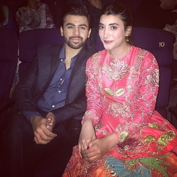 #FarhanSaeed with his better half and the star of #PunjabNahiJaungi #PNJ, #UrwaHocane at the film's premiere in #Lahore! 😍💞😎