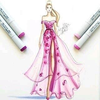 pink dress #dress #pink #illustration