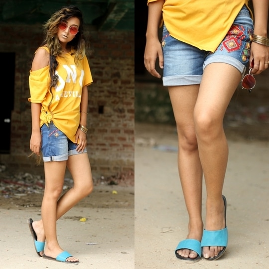Hello World,  I hope you all are doing well. As you all know I believe in my unique styling. This time I am ready to bring some fusion in my look, yes you heard it right ,in this post I am going to do quirky and boho mix. So now I will start with my shoes because for me thats most favourite thing in this look, I always feel that your footwear should go perfectly with your outfit. This time I choose a absolutely simple yet stylish flats fromReliance FootPrint,this store never fails to surprise me with their stylish footwears. Its just so much comfortable to wear. If wish buy it do checkout their website.  To make my look more happening I choose to wore a boho denim hot pant specially I loved the work on it and its fromForever21and DIY yellow T-shirt from my storeAmajesticVogue.  Here is the look:     I hope you find this blog interesting, Do give your feedbacks lovelies. If you feel I deserve your support then please connect me here:  Other Social Handles-  *Instagram:Amajesticmind  *Twitter:ShreyashiDebnat  *Youtube Channel:Amajesticmind  *Facebook page:Amajesticmind Blog by Shreyashi Debnath  *Snapchat:shreyashi_d  *Website:http://amajesticmind.com/  *Roposo:@amajesticmind  *Wooplr:@Amajesticmind  -----------------------------------------------------------------------------  *For Collaboration / Business  Mail Me Here:debnath.shreyashi.shreyashi78@gmail.com