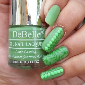 I recreated my first mani. With a twist of course. Products used @debellecosmetix nail polish mystique green @bornprettystore stamping plate BP 19 (Item ID #17264) @nicolediary2016 Stamping polish: NS 12 from @nailart_nailsfiesta Green studs from @shopcutenails  #Nail #Nails #NailPolish #NailPolishAddict #NOTD #NailPolishLover #NailPolishes #NailstaGram #NailAddict #NailSwag #NailsOfInstagram #NailsOfTheDay #Nails2Inspire #IndianNails #IndianNailArtist #IndianNailArt #NailStamping #ManiOfTheDay #NailJunkie #StampedNails #StampingNailArt #NailStampingArt #nailart #nailit #nailedit #nailblogger #nailartist