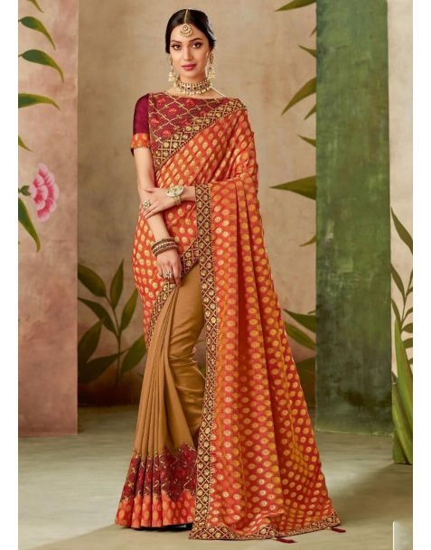 Saree to Impress !! Make a stylish statement with this stunning #saree available @ www.manndola.com  Grab Up To 65% OFF. Get additional 10% OFF on all orders above $199 using code EXTRA10 & extra 15% OFF on all orders above $299 by using code EXTRA15 !!  Show your love for ethnic wear with this Red and Orange Embroidered Partywear Saree.This gorgeous saree comes with thread and zari embroidered silk saree with thread and zari embroidered silk blouse.  #newarrivals #newlaunch #wedding #partywear #silk #saree #embroidery #style #photography #instamood #instaupload #fashion #indianfashion #ethnic #usa #india #canada #australia #dubai #uae #mauritius #london #uk #shoponlinenow