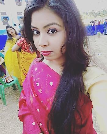 #bong #redsaree #makeup #saraswati pujo #selfietime #enjoyement