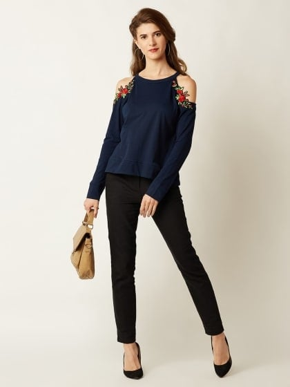 Navy Blue Solid Full Sleeve Embroidered Cold Shoulder Top  #Gorgeous #Awesome #Styles #Design  #PRODUCT INFORMATION  Navy blue knitted solid cotton embroidered cold shoulder top, Has a round neck and full sleeves, Has patch work detailing    #ATTRIBUTES  Material - Cotton Pattern - Embroidered Pattern - Solid Color - Navy Blue  COD Available | FREE Return  BUY NOW https://dreamjourney.wooplr.com