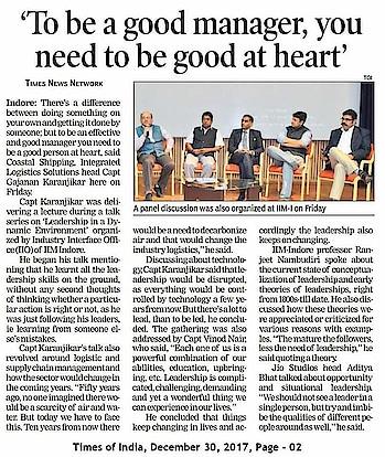 Happy to read about Captain Karanjikar's leadership talk at IIM Indore. Spoke my mind. :)