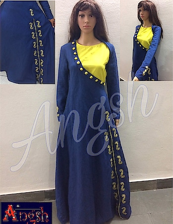 #gown #linen #stylish #onesidecollar #trending #designer #zipper #embroidery #sleeves #button #neon yellow #angsh #jaipur  Dm to order😊