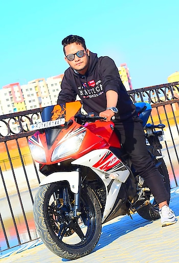 out door photo_shoot with Yamaha R15.. Riding_enjoy.  #sportbike  #riding  #outdoorshoot  #perfect-ride  #roposostar  #fashioninfluencer