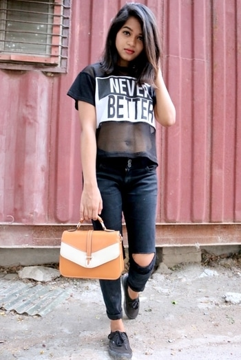 """Seen this post yet ?  If no, hit the """"Visit Blog"""" button for direct link🦋 Do tell me if you like it 🌸 . . . . #TadTooTrendy #IndianBlogger #IndianFashionBlogger #IndianYoutuber #neverbetter #bnw #bnwpost #allblack #black #casual #comfy #streetstyle #fashiongram #fashionforeveryone #mesh #meshdetailing #shorthair #ootd #potd #outfitinspiration #outfitideas #dailyoutfits #collegeootd #love #instaupload #instalike"""