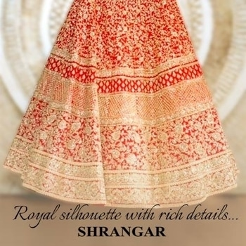 The couture of festivity with richly crafted details www.shrangar.com  #shrangar #lehenga #bridalwear #potd #iger #delhi #designer #bridal #ootd #bridal-fashion-designer #bridalfashion #blogger  #fashionblogger #chandnichowk #wedding #ethnic #dress