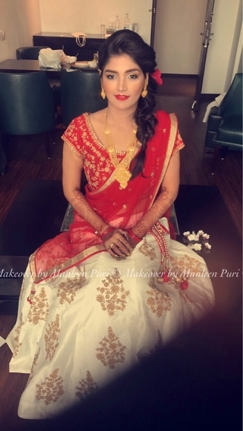 Starting today I need to forget what's gone,appreciate what still remains and look forward to what's coming next! Every new beginning is so precious!! #my #gujju #bridetobe #glamorous #newbeginning #redandwhite #gujrati #gujratiwedding #gujratistyle!! @niyatitandel you look stunning 😘 #makeupartist #bridalmakeupartist #makeoverbymanleen #lovewhatido #tygod 🙏🏻 #soroposo #roposolove #roposomakeupartist   Bookings open! Contact directly at 9910192751 🙏🏻