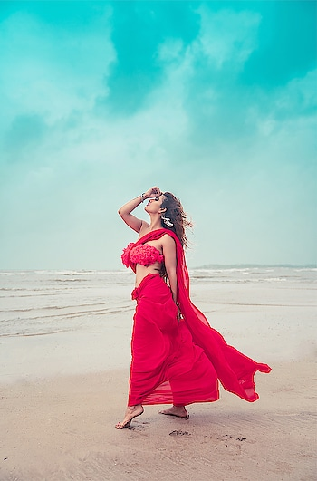 The Sky Is An Infiniti To Me, I Never Get Tired Of Looking At What's Happening Up There 😍 : #sky #skyisthelimit #bluesky #love #neeleneeleambarpar #filmy #bollywod #monsoonseason #rainydays #rains #rainbow #fav #red #redhot #beachphotography #beachphotoshoot #seaside #nehamalik #model #actor #diva #blogger #instagood #instafollow  : PC @divyesh.vanzara @ravishingfocus  Styling /outfit @baaksha  Mua @makeupbyheenal