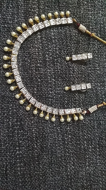 white beaded and stone necklace set with earring  rate 2200 plus shipping whatsapp 9162060671