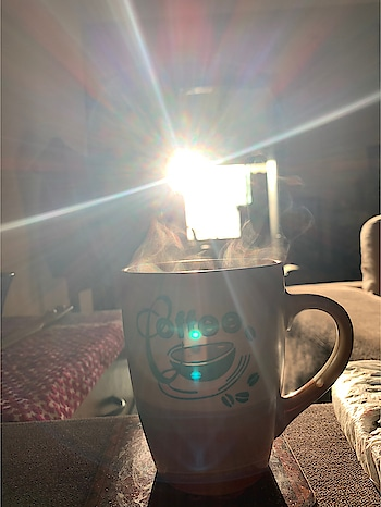 "Have ur chai n watch the sunset ❤️❤️❤️The best think to do in this lockdown 😍😍😍 n I know my cup says coffee but ""Coffee is not my cup of tea"" hehehe 😆😆😆 #chailover #sunset #teaperson #lockdown #selfquarintine #socialdistancing #myphotography #lovingit"