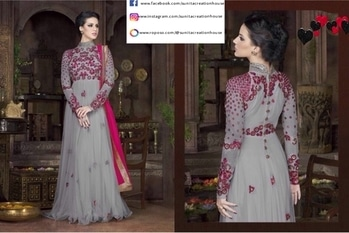 Glorious Grey Anarkali Gown with a premium Net and Embroidery work made in Santoon fabric, along with a Naznin Dupatta.  Price:- Rs. 3798/- DM us or Call:- 07738722000 for inquiries📞  Limited stock available📦 Follow us:  www.facebook.com/sunitacreationhouse  www.instagram.com/sunitacreationhouse www.roposo.com/@sunitacreationhouse . #grey #lightgrey #greygown #greydress #anarkali #anarkaliset #anarkalidress #netdetails #netdetailing #embroidery #embroiderywork #flowermotif #naznindupatta #santoonfabric #artwork #handwork #partywear #partygown #eveningwear #eveninggown #ethnicwear #ethnicity #ethnicgown #indiandress #indianstyle #indianwear