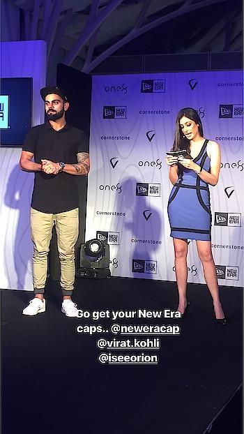With Virat Kohli last night at the Media Launch of New Era! #emcee #hostingevents #host #hostess  @virat.kohli @viratlife @viratkohli.club #viratkohli #newera #neweracaps
