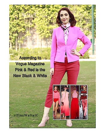 Here's a combination of colours you cannot miss this season 😊❤️💕!Have you tried it yet ... . . . #tinawaliaic #tipsbytina #imagecoach #imageconsultant #stylist #pinksandreds #pinkandred #voguemagazine #trend2019 #fashiontrend #worklife #styletips #trendingnow #rops-style #ropsostylefiles #ropo-fashion #ropo-fashionblogger😊